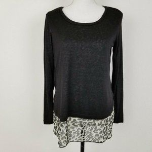 Papillon Top Black White Knit Long Sleeve Small